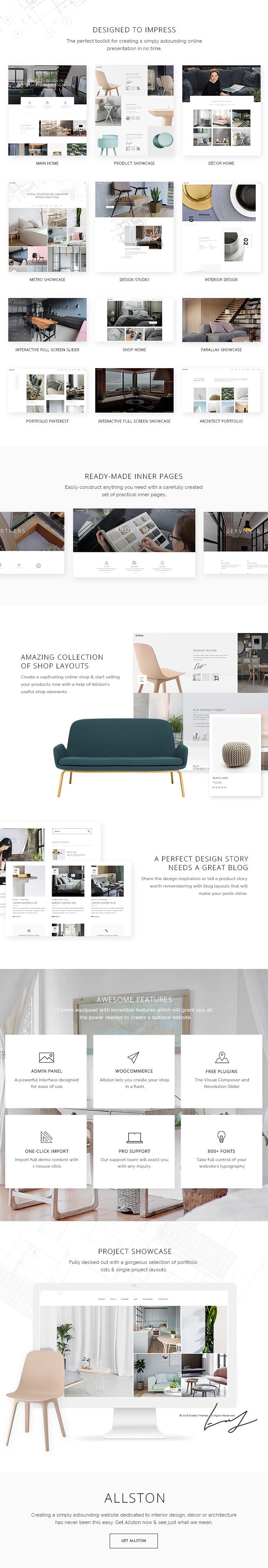 WordPress theme Allston - A Contemporary Theme for Interior Design and Architecture (Portfolio)